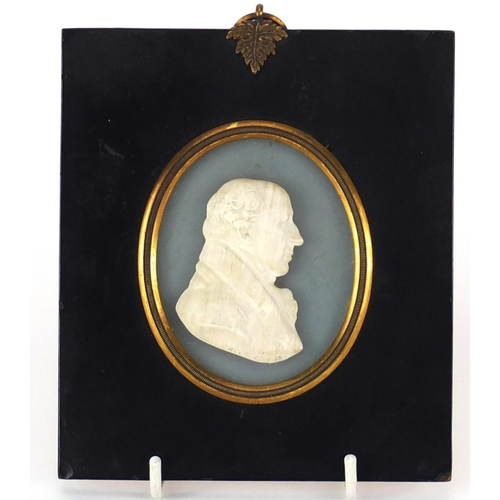 51 - 19th century white glass paste profile of Lord Glenbervie by John Henning, mounted and housed in an ...