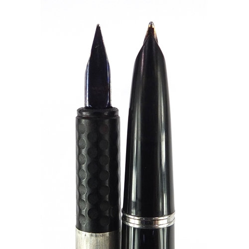 7 - Seven fountain pens comprising a Montblanc Turbo and six Parker...