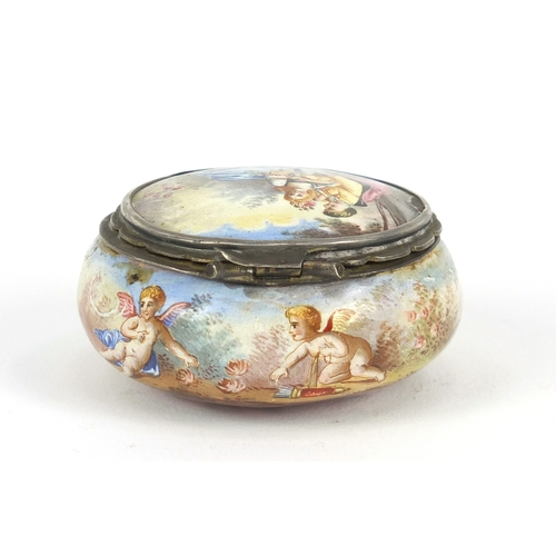 57 - Antique continental enamel box, the hinged lid hand painted with lovers and putti, 5.5cm in diameter...