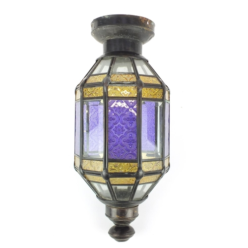 5940 - Moroccan pendant light fitting with bevelled and coloured glass panels, 38.5cm high...
