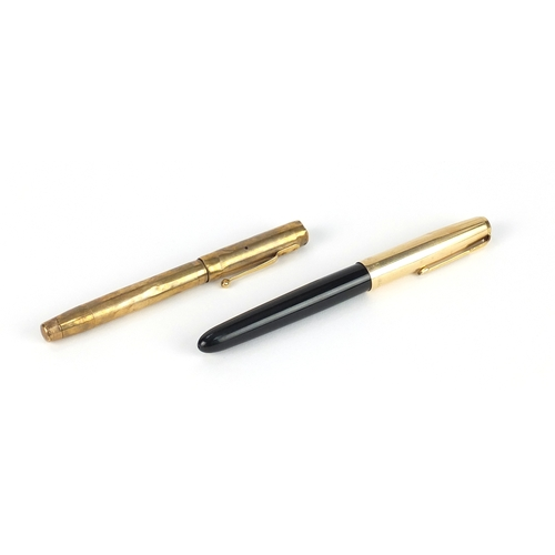 6 - Swan 9ct gold fountain pen and a Parker 51 fountain pen, one with 14ct gold nib...
