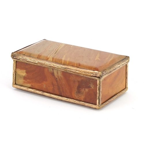 58 - Antique hardstone casket with gold coloured metal mounts, 8.5cm wide...