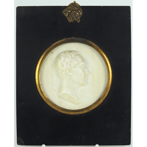 50 - 19th century white glass paste profile of Rev James Grahame by John Henning, mounted and housed in a...