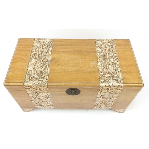 4 - Chinese camphorwood trunk carved with flowers, 56cm H x 104cm W x 50cm D...