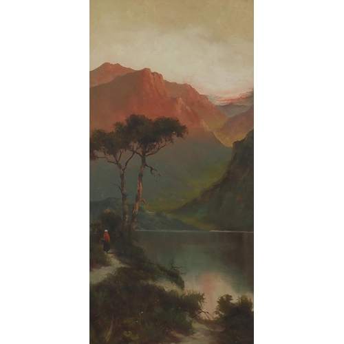 23 - J Ducker - Streams before mountains, pair of oil on canvases, framed, 60cm x 29cm...