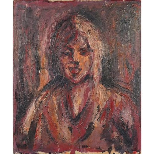 27 - Abstract composition, female portrait, oil on canvas, bearing an indistinct signature possibly Bomba...