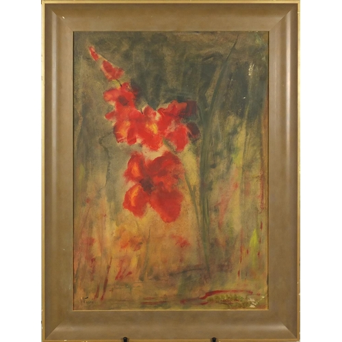 26 - Still life flowers, oil on board, bearing a signature possibly Nolde, framed, 67cm x 47cm...