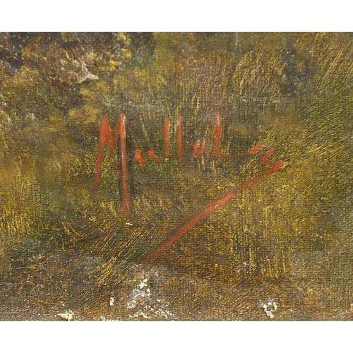 48 - Figure harvesting beside woodland, oil on canvas, bearing a signature possibly Mullolz, framed, 91cm...