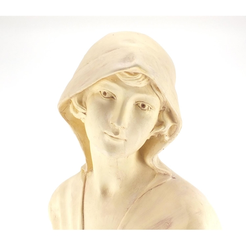 2106 - Large plaster bust of an Art Nouveau female, Monique, incised marks to the reverse, 64cm high...