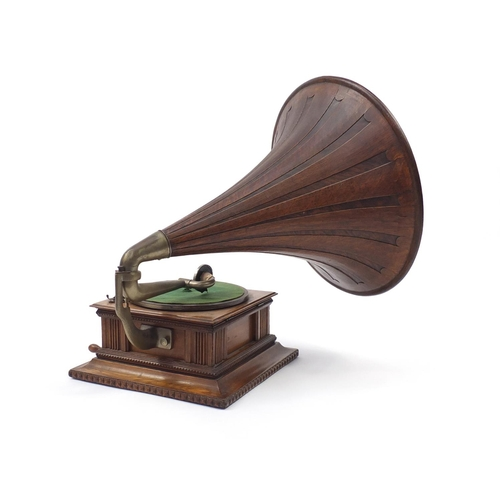 2107 - His Masters Voice oak gramophone with wooden horn, the horn, 55.5cm in diameter...