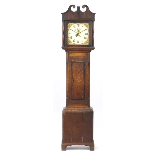 2026 - Antique Oak long case clock with date wheel, the enamel dial hand painted with a bird, 207cm high...