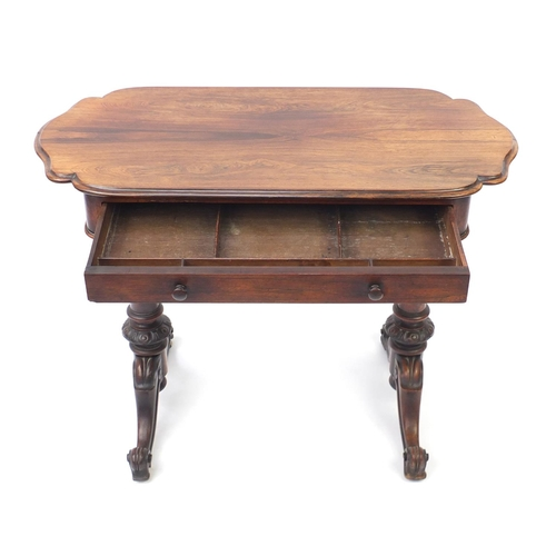 2044 - Victorian rosewood ladies writing table with frieze drawer and scroll feet, 74cm H x 97cm W x 47cm D...