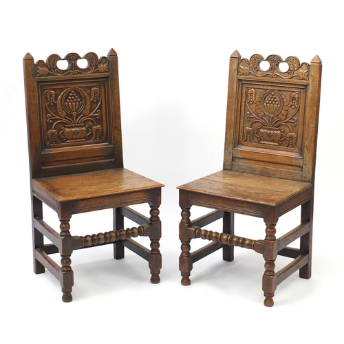 2007 - Pair of 19th oak chairs with carved panel backs, 102cm high...