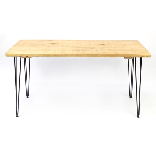 2050 - Contemporary light wood dining table with metal hairpin legs, 76c H x 151cm W x 75cm D...