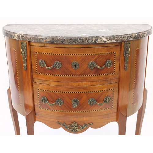 2047 - Sheriton revival demi lune side cabinet with marble top and brass fittings, 72cm H x 66cm W x 33cm D...