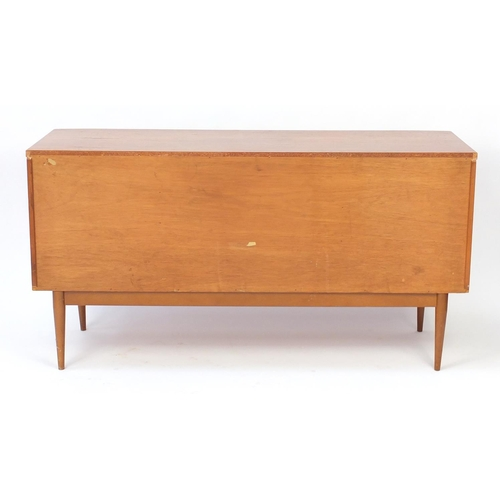 2054 - Vintage teak sideboard with three drawers above a central fall and pair of cupboard doors, 80cm H x ...