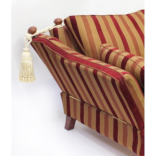 2017 - Knoll drop end three seater settee with red and gold upholstery, 230cm in Length...