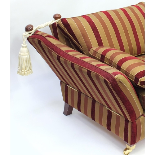 2016 - Knoll drop end three seater settee with red and gold upholstery, 230cm in Length...