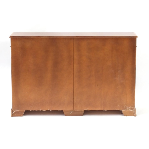 2032 - Inlaid mahogany open bookcase fitted with six adjustable shelves, 100cm H x 152cm W x 32cm D...