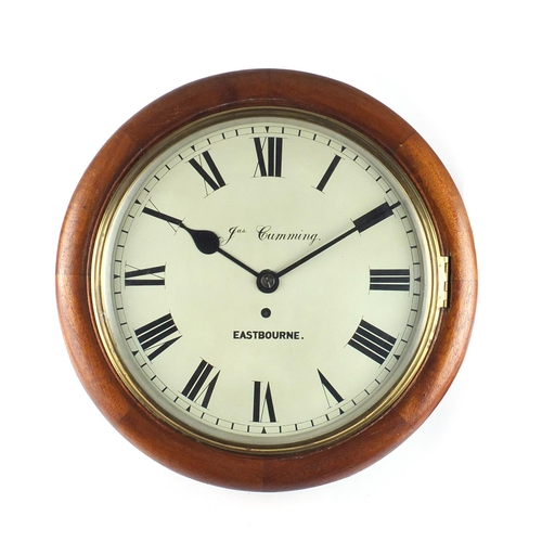 2037 - Railway interest Victorian fusee wall clock, the circular dial with Roman numerals inscribed Jas Cum...