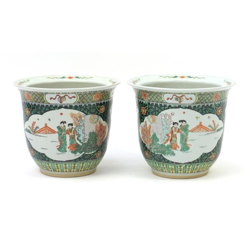 2028 - Pair of Chinese porcelain famille verte jardinières, each hand painted with figures and flowers, eac...