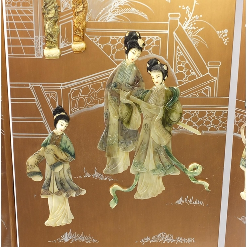 2010 - Chinese lacquered four fold screen, decorated in relief with females around a pagoda, 183cm H x 186c...