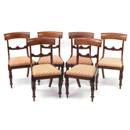 2048 - Set of six Victorian mahogany dining chairs with fluted legs and drop in seats, 87cm high...
