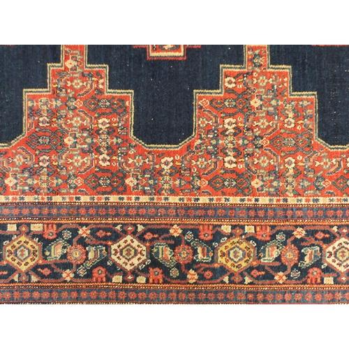 2027 - Rectangular blue ground Bihar rug 192cm x 132cm...