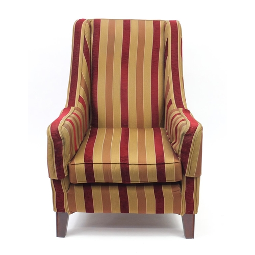 2034 - Mahogany framed armchair with red and gold striped upholstery, 104cm high...