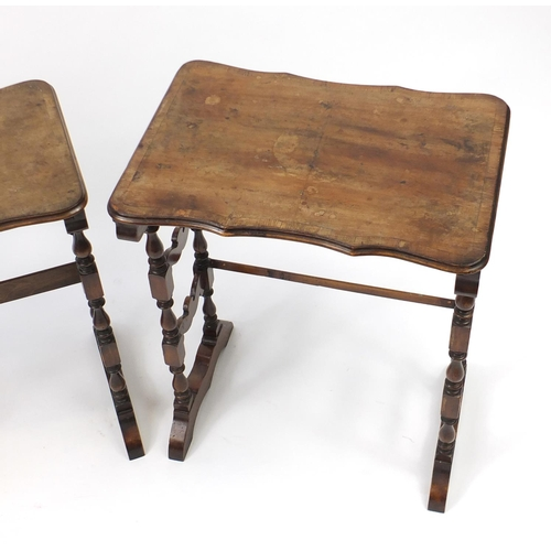 2052 - WITHDRAWN - Victorian nest of three cross banded walnut occasional tables, the largest, 62cm H x 50c...