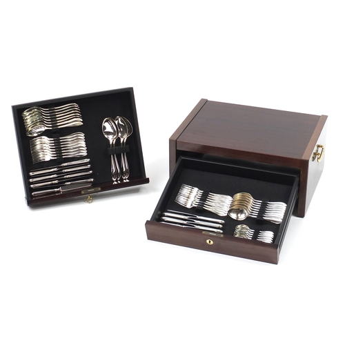 2012 - Robbe & Berking sixteen place canteen of silver plated cutlery suite, housed in a mahogany two drawe...