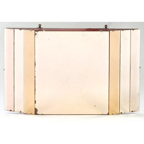 2006 - Art Deco peach glass wall mirror, 81cm x 51cm...