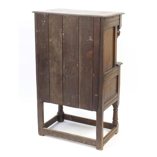 2038 - Ipswich oak side cabinet carved with foliate motifs, 121cm H x 72cm W x 44cm D...