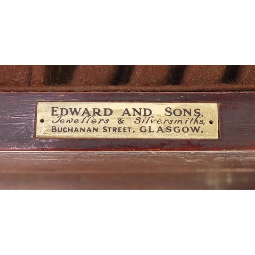10 - Edward & Sons mahogany two drawer canteen with key, 25cm H x 46.5cm W x 35cm D...