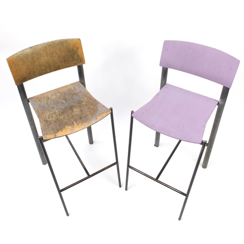 45 - Pair of Allemuir wrought iron and plywood breakfast stools, 102cm high...