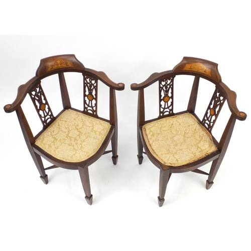 8 - Two Edwardian inlaid mahogany corner chairs, 81cm high...