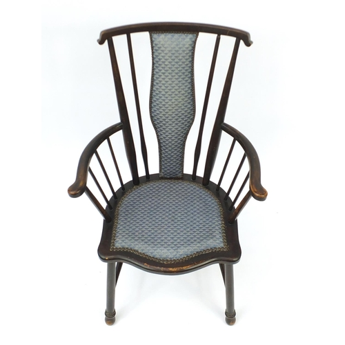 30 - Mahogany stick back occasional chair, 91cm high...