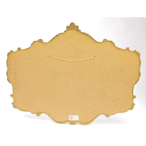 21 - Ornate gilt framed wall hanging mirror, 104cm x 81cm...