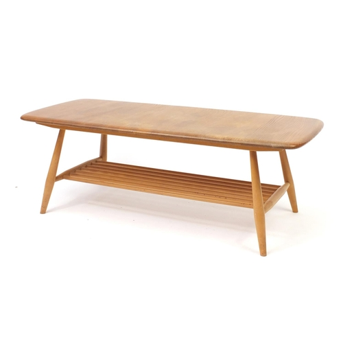 6 - Ercol light elm coffee table with magazine rack base, 36cm H x 105cm W x 46cm D...