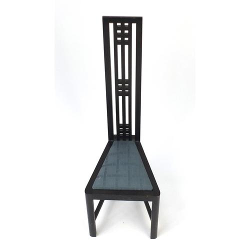 54A - Rennie Mackintosh design ebonised childs chair, 77cm high...