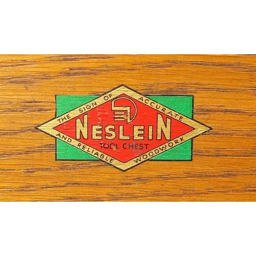 15 - Neslein oak seven drawer tool chest, 36cm H x 51cm W x 23cm D...