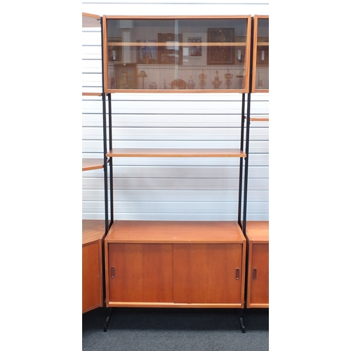 2005 - 1960's teak Interflex modular corner bookcase, with sliding glass doors above open shelves and slidi...