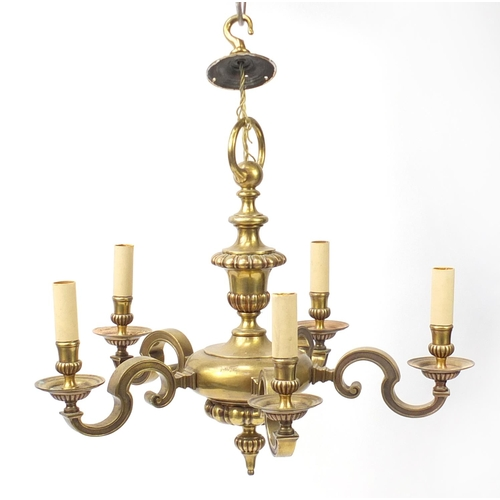 28 - Heavy brass five branch ceiling pendant, with S scrolls, 50cm high...