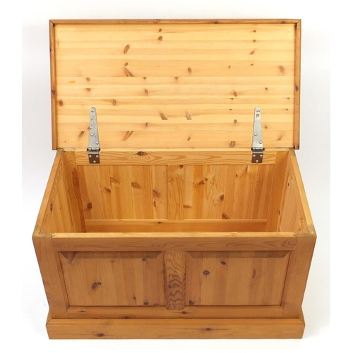 20 - Pine blanket box with fielded panels, 53cm H x 90cm W x 47cm D...