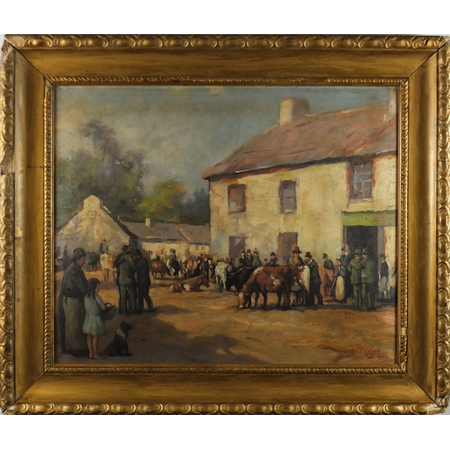 22 - Manner of Frank McKelvey - Figures at a cattle market, Irish school oil on board, framed, 52cm x 43c...