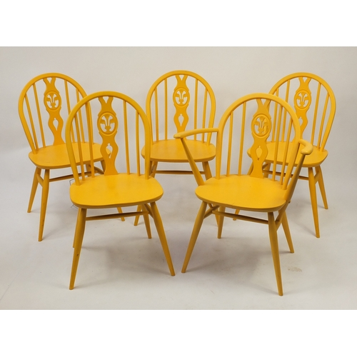 41 - Set of five painted Ercol Prince of Wales chairs including a carver, 82cm high...