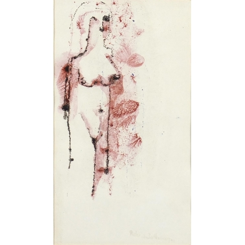 27a - Pieter Van Der Westhuizen 1973 - Standing nude female, ink on paper, mounted and framed, 22.5cm x 12...
