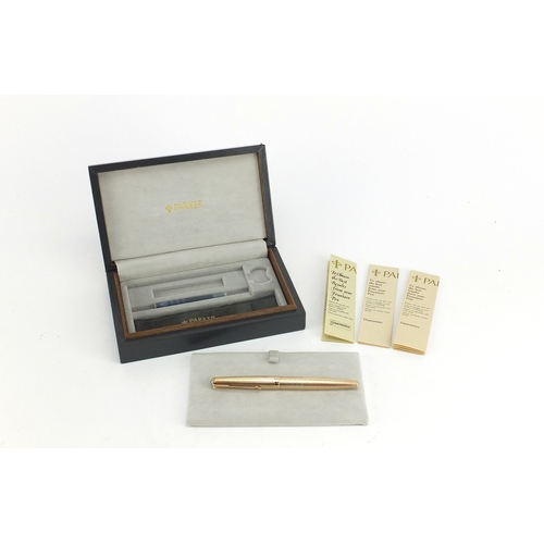 3 - Parker 61 9ct gold fountain pen with case, 21.9g...