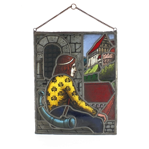 2043 - Early 20th century Pre-Raphaelite style leaded stain glass panel, hand painted with a figure before ...