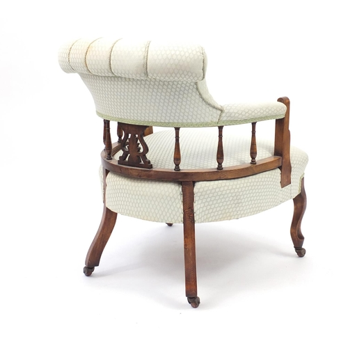 2014 - Mahogany framed bedroom chair with button back upholstery, 75cm high...